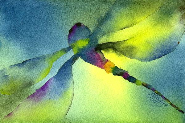 Aqua Dragonfly Print by Gladys Folkers