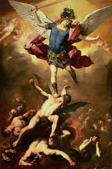 Archangel Michael Overthrows The Rebel Angel Print by Luca Giordano