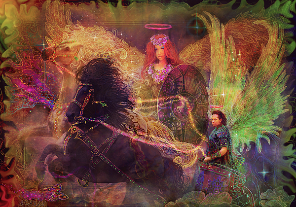 Archangels Ariel And Metatron Print by Steve Roberts