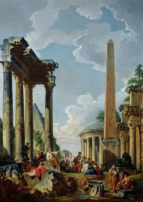 Architectural Capriccio With A Preacher In The Ruins Print by Giovanni Paolo Pannini or Panini