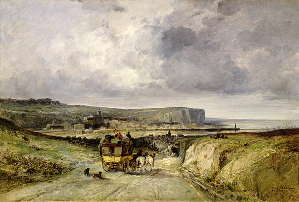 Arrival Of A Stagecoach At Treport Print by Jules Achille Noel