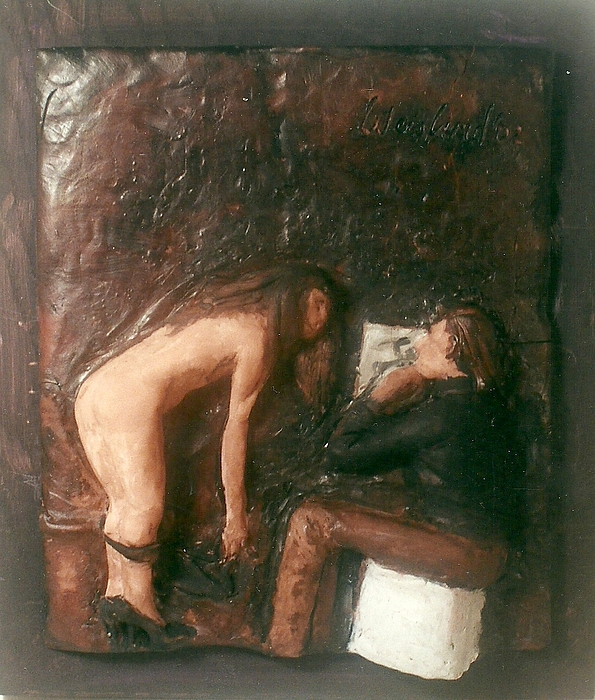 Artist And Nude Model Print by Harry  Weisburd