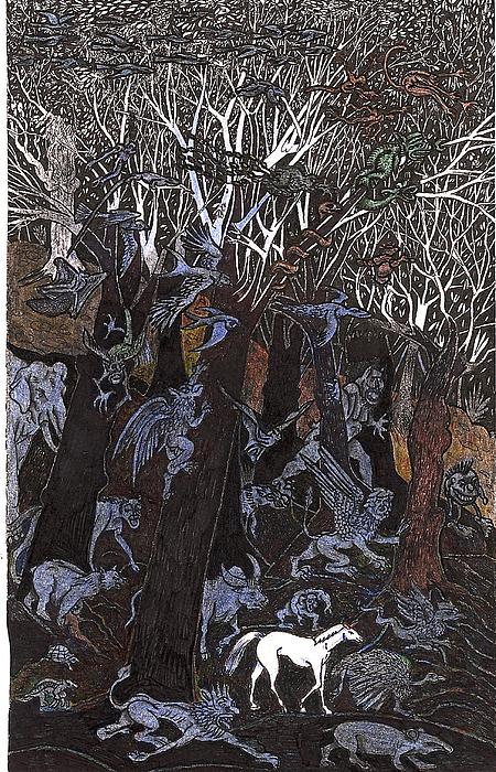 Asil In Shitaki Forest Print by Al Goldfarb