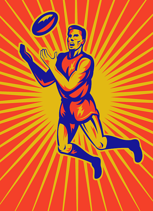 Aussie Rules Player Jumping Ball Print by Aloysius Patrimonio