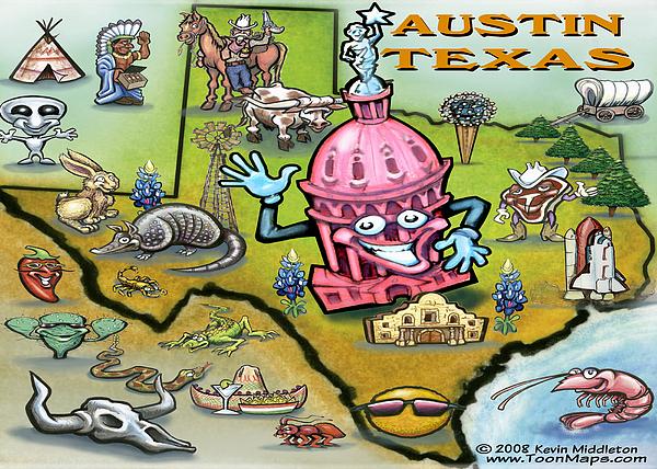 Austin Texas Cartoon Map Print by Kevin Middleton