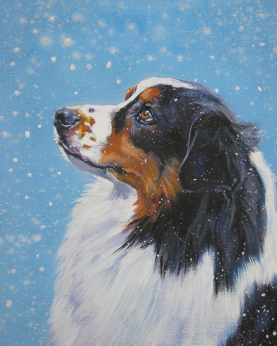 Australian Shepherd In Snow Print by L A Shepard