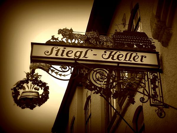 Austrian Beer Cellar Sign Print by Carol Groenen