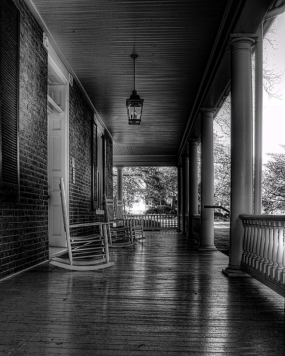 Avenel Front Porch - Bw Print by Steve Hurt