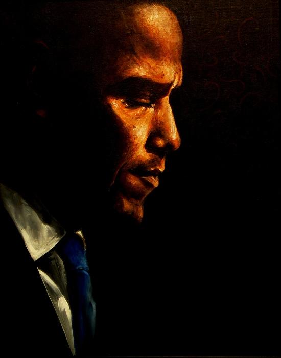 Barack Obama A Prayer Print by Richard Klingbeil