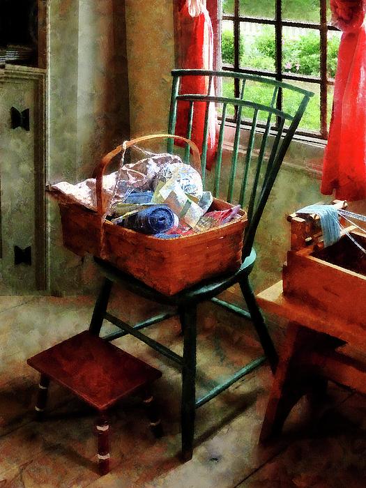 Basket Of Cloth And Yarn On Chair Print by Susan Savad
