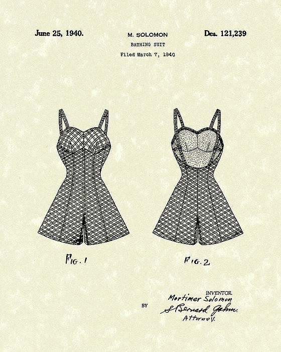 Bathing Suit 1940 Patent Art Print by Prior Art Design