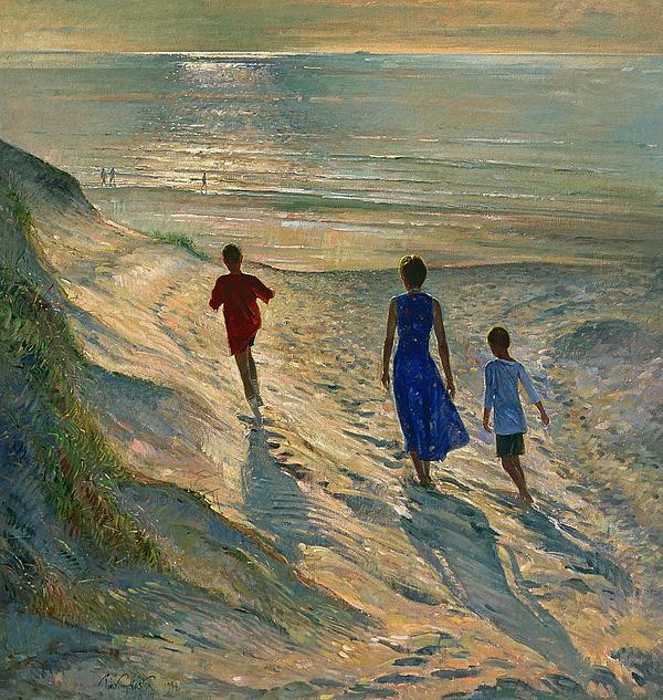Beach Walk Print by Timothy Easton