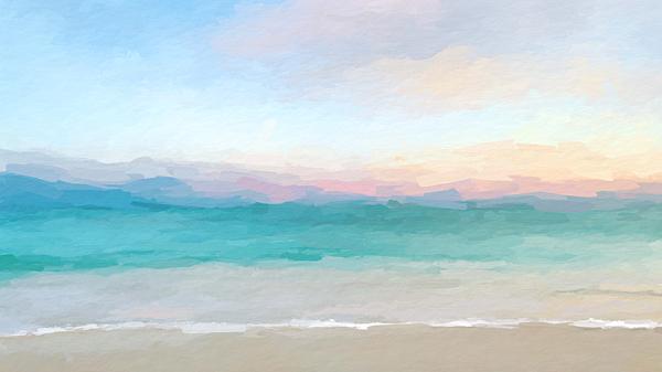 Anthony Fishburne - Beach watercolor sunrise