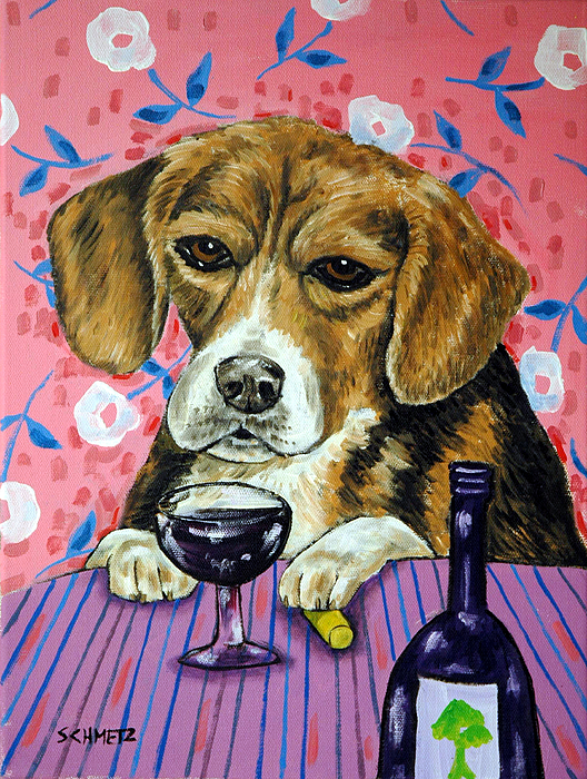 beagle at the Wine Bar Print by Jay  Schmetz