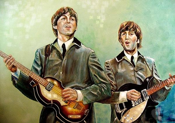 Beatles Paul And John Print by Leland Castro