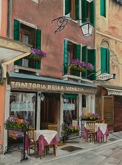 Beautiful Restaurant In Venice Print by Charlotte Blanchard