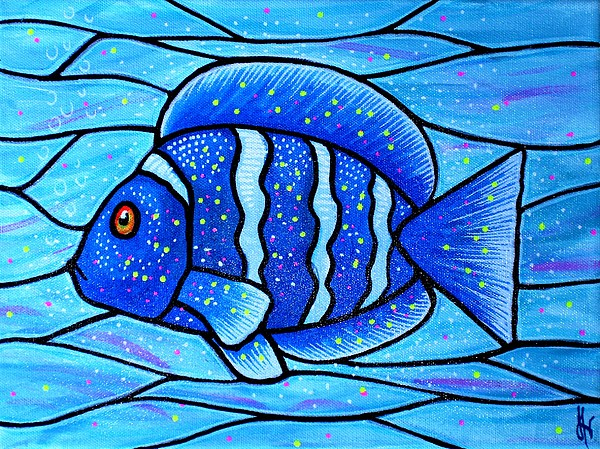 Beckys blue tropical fish print by jim harris for Jims exotic fish