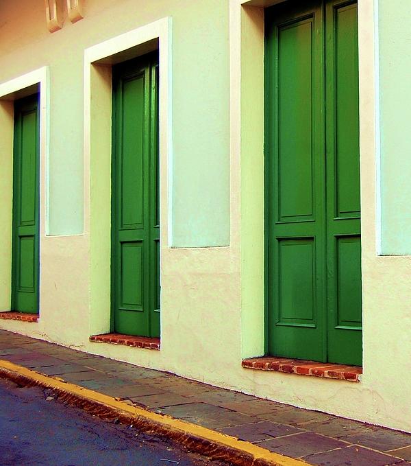 Behind The Green Doors Print by Debbi Granruth