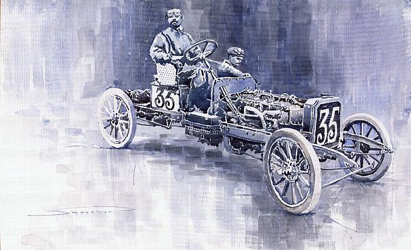 Benz 60hp Targa Florio Rennwagen 1907 Print by Yuriy  Shevchuk