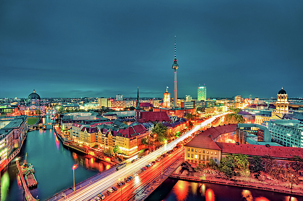 Berlin City At Night Print by Matthias Haker Photography