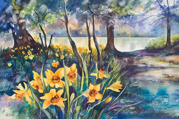 Beside The Lake Beneath The Trees. Print by Kate Bedell