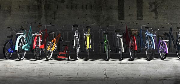 Bike Rack Print by Cynthia Decker
