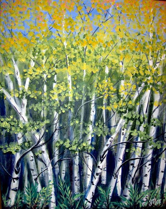 Birches Print by Sharon Marcella Marston
