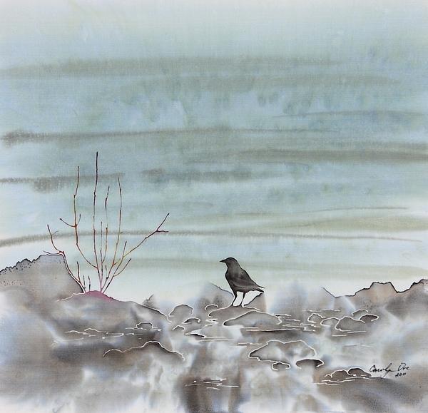 Bird On The Shore Print by Carolyn Doe