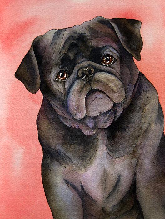 Black Pug Print by Cherilynn Wood