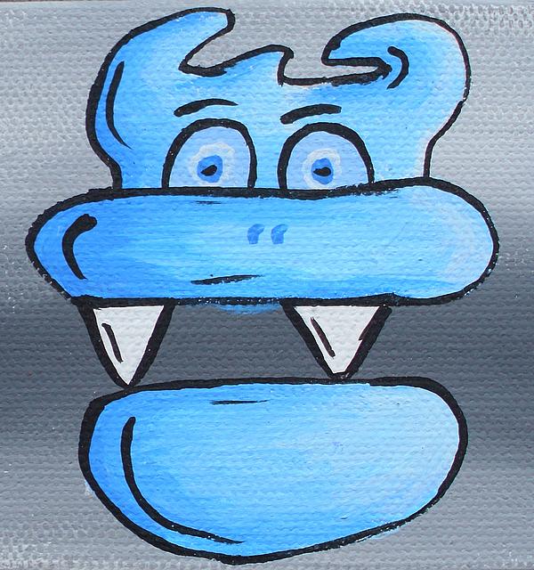 Blue Debil Print by Jera Sky