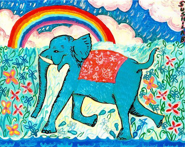 Blue Elephant And Rainbow Print by Sushila Burgess