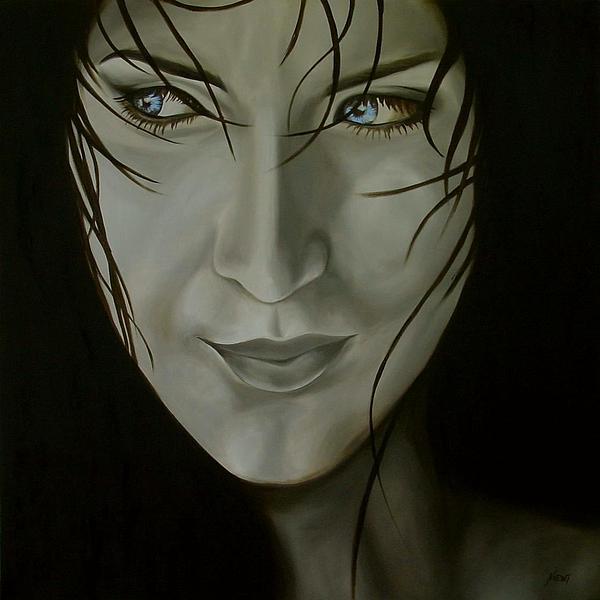 Blue-eyed Girl Print by Jindra Noewi