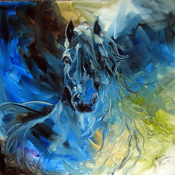 Blue Ghost  Equine Art Original Oil Print by Marcia Baldwin