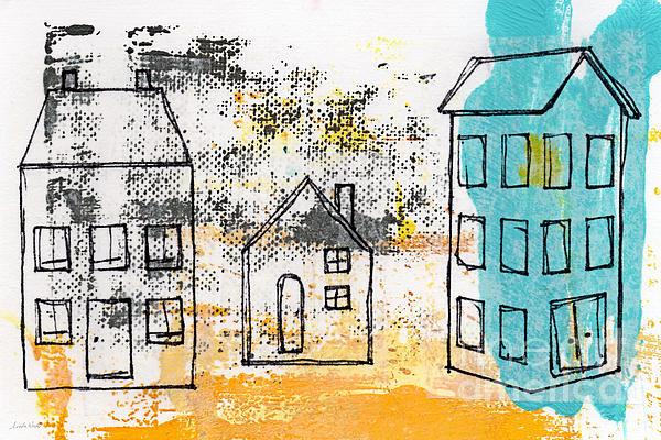 Blue House Print by Linda Woods