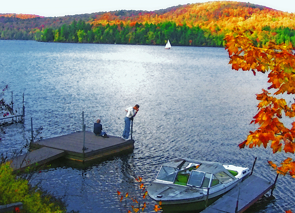 Blue Mountain Lake 12 - Tourists On Dock Print by Steve Ohlsen