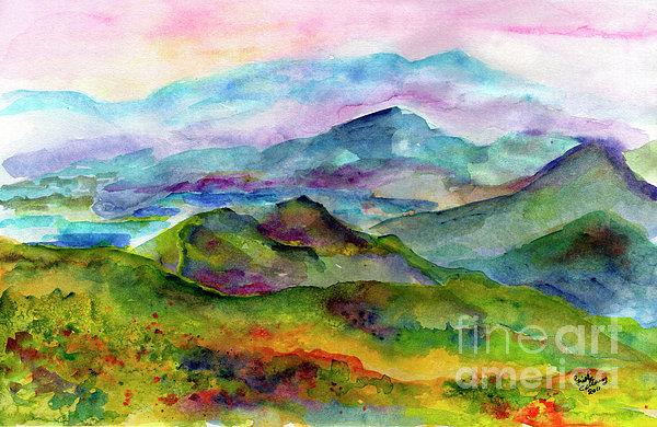 Blue Ridge Mountains Georgia Landscape  Watercolor  Print by Ginette Callaway