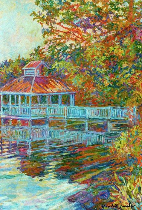 Boathouse At Mountain Lake Print by Kendall Kessler
