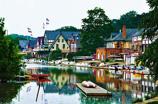 Boathouse Row In Philly Print by Bill Cannon