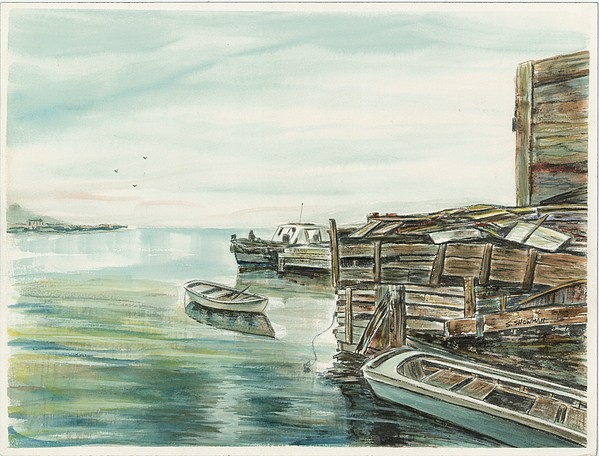 Boats At The Dock Print by Samuel Showman