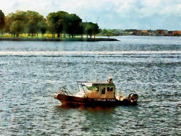 Boats - Police Boat Norfolk Va Print by Susan Savad