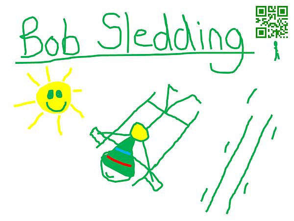 Bob Sledding Print by Jeffrey Church