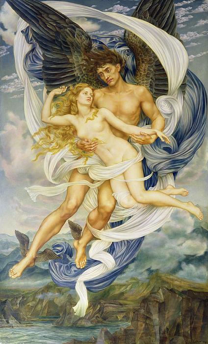 Boreas And Oreithyia Print by Evelyn De Morgan