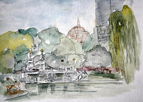 Boston Public Gardens Bridge Print by Julie Lueders