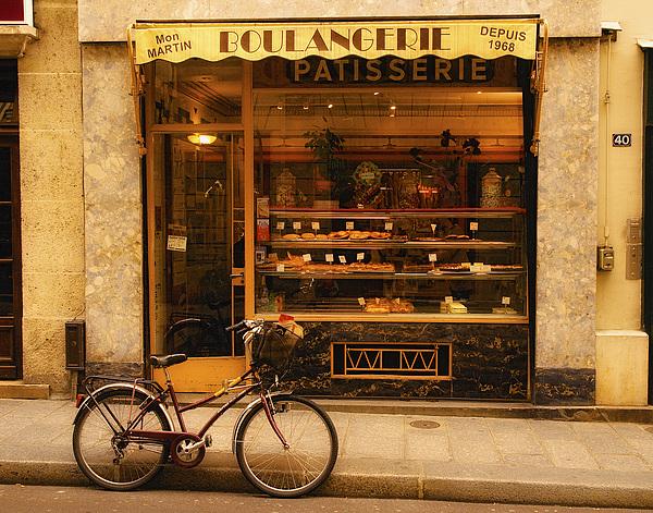 Boulangerie And Bike Print by Mick Burkey