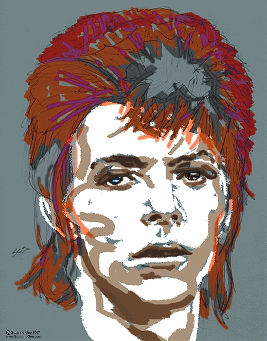 Bowie As Ziggy Print by Suzanne Gee