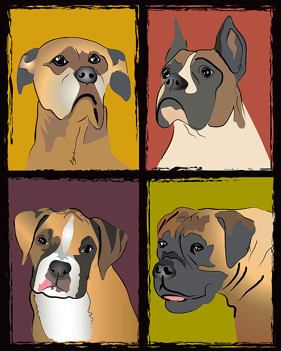 Boxer Dog Portraits Print by Robyn Saunders