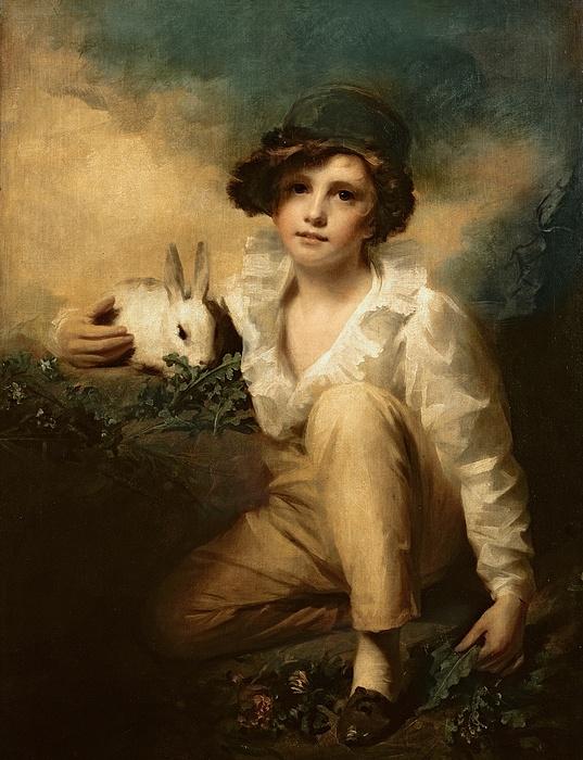 Boy And Rabbit Print by Sir Henry Raeburn
