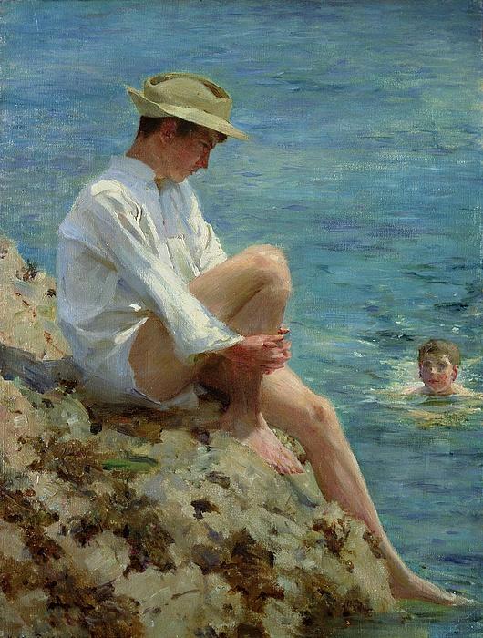 Boys Bathing Print by Henry Scott Tuke