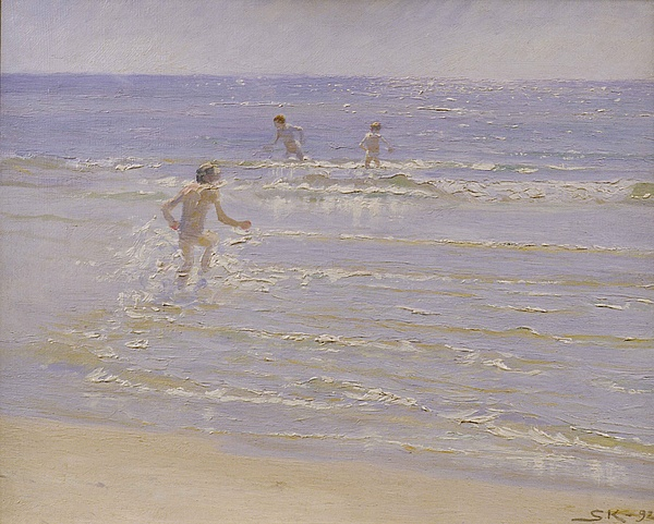 Boys Swimming Print by Peder Severin Kroyer