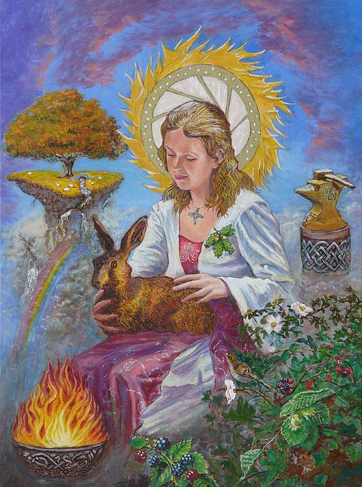 Brigid Goddess Celtic Goddess Of Fire Print by Tomas OMaoldomhnaigh